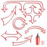 Покрашенная стрелками ручка войлок-подсказки для вашего дизайна Стоковое Фото