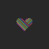 Покрашенная тонкая линия логотип сердца, знак влюбленности, дизайна свадьбы модель-макета Стоковое Изображение