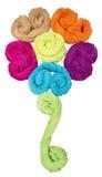 Покрашенная форма полотенец Terry цветка изолированного на белизне Стоковые Фото