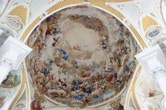 Покрашенная церковь Neresheim аббатства потолка Стоковые Фото
