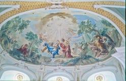 Покрашенная церковь Neresheim аббатства потолка Стоковые Фотографии RF