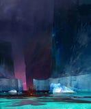 Покрашенная drakkar шлюпка среди айсбергов иллюстрация штока