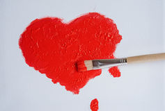 Покрашенное красное сердце Стоковое Изображение