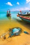 Покрашенное море Таиланд шлюпок Стоковое фото RF