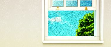 Покрашенное окно взгляда вне иллюстрация вектора