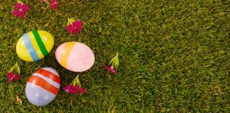 Покрашенное пасхальное яйцо на траве Стоковое фото RF