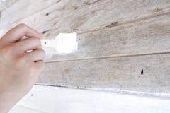 покрашенное поверхностное деревянное Белый цвет Стоковое фото RF