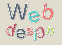 Покрашенное ретро слово webdesign с планом Иллюстрация вектора