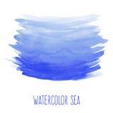 Покрашенное рукой море акварели Стоковые Фотографии RF