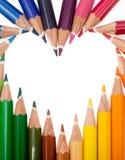 Покрашенное сердце карандашей Стоковые Фото