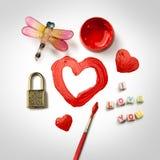 покрашенное сердце красным Стоковое Изображение