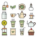Покрашенное собрание значков чая линейное Установленные значки чая плоские иллюстрация штока