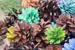 Покрашенное украшение рождества конусов сосны Стоковое Фото