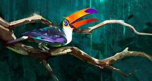 Покрашенное усаживание птицы toucan на ветви бесплатная иллюстрация