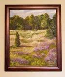 Покрашенное художественное произведение - абстрактный польский холст ландшафта сельской местности Стоковое фото RF