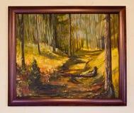 Покрашенное художественное произведение - абстрактный польский холст ландшафта сельской местности Стоковые Фото