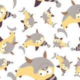 Покрашенные акулы в ретро стиле, безшовной картине Стоковое фото RF