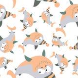 Покрашенные акулы в ретро стиле, безшовной картине Стоковая Фотография
