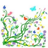 Покрашенные бабочки и цветок Стоковая Фотография RF