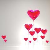 покрашенные воздушным шаром valentines красного цвета сердца дня Стоковая Фотография