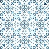 Покрашенные вручную плитки акварели с голубым орнаментом стоковое изображение