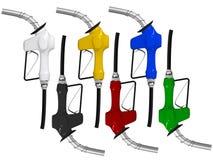 покрашенные газовые насосы различные Стоковая Фотография