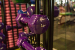Покрашенные гантели в спортзале Стоковые Фотографии RF