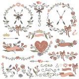Покрашенные границы Doodles, рамки, венок, флористический Стоковое Изображение