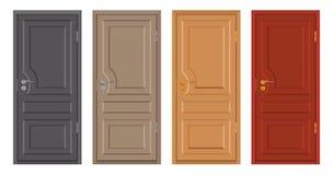 Покрашенные деревянные двери изолированные на белой предпосылке, реалистической деревянной двери, иллюстрации цвета различного ди Стоковые Фото