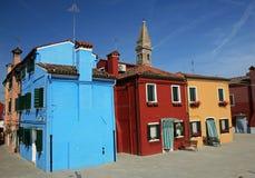 покрашенные дома burano цветастые Стоковые Изображения RF