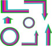 Покрашенные знаки, стрелки символов, circl Стоковые Изображения RF