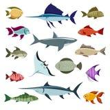 Покрашенные значки вектора рыб иллюстрация вектора