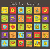 Покрашенные значки doodle. Комплект музыки Стоковое Изображение RF