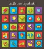 Покрашенные значки doodle с тенью. Комплект спорта Иллюстрация вектора