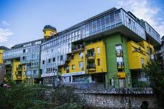 Покрашенные здания в Сараеве Стоковые Фотографии RF