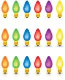 Покрашенные индивидуалом света рождества стоковые фотографии rf