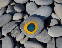 Покрашенные камни Радуга цветков в краске на камнях Стоковое фото RF