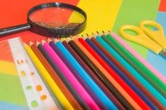 покрашенные карандаши Карандаши текстуры покрашенные древесиной Стоковая Фотография RF