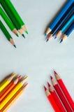 покрашенные карандаши на белой предпосылке Стоковая Фотография RF