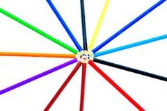 Покрашенные карандаши на белой предпосылке, Стоковые Изображения RF