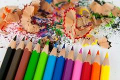 Покрашенные карандаши с отходом Стоковые Изображения RF