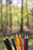 Покрашенные карандаши художника в внешней установке стоковая фотография rf