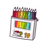 Покрашенные карандаши, яркая иллюстрация детей вектора Стоковое Фото