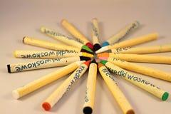 Покрашенные карандаши для рисовать стоковые изображения rf