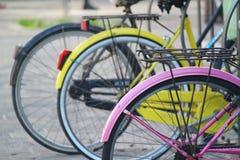 Покрашенные колеса велосипеда Стоковая Фотография