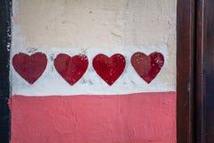 Покрашенные красные сердца Стоковое Изображение