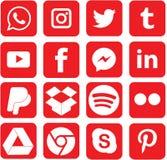 Покрашенные красным цветом социальные значки средств массовой информации для рождества стоковое фото rf