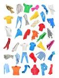 Покрашенные одежды осенью изолированные на белой предпосылке Стоковые Фото