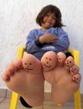 покрашенные пальцы ноги Стоковые Изображения RF
