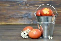 покрашенные пасхальные яйца естественно стоковые фото